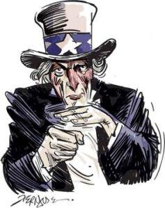 """""""Tio Sam"""" demonstrando gestualmente a situação da economia mundial."""