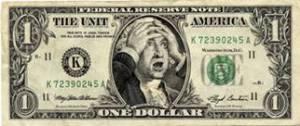 caricatura de Benjamin Franklin em gesto de desepero com a queda das bolsas.