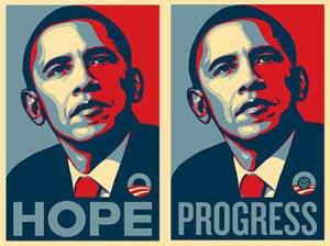 """Com o slogan """"esperança"""" e """"progresso"""", Obama vence até em estados que sempre votaram em Republicanos."""